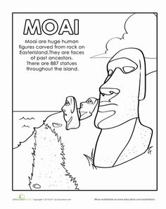 Easter Island colouring page. Pinned less for actual content and more as a reminder that the trace function in Adobe Illustrator could be used to create (a) more interesting colouring page(s) with custom info bites. Easter Island Moai, Easter Island Statues, Polynesian Islands, Coloring Pages, Colouring, Worksheets For Kids, School Fun, Ancient Art, Teaching Kids
