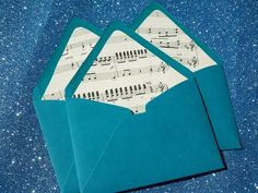 line envelopes with old sheet music