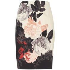 Phase Eight Rose Print Skirt, Black/Cream ($40) ❤ liked on Polyvore featuring skirts, bottoms, faldas, gonne, black cotton skirt, phase eight, cotton stretch skirt, black stretch skirt and stretchy skirt