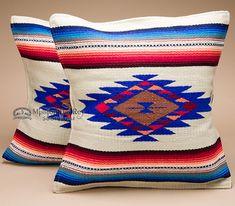 Pair Serape Southwest Pillow Covers -Beige 18x18 (apc7)