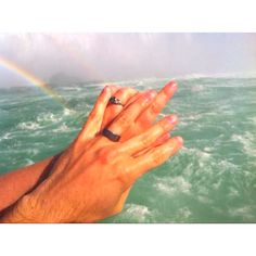 Our hands at Niagara Falls! The water, was gorgeous, the rainbows were everywhere, and I wanted a picture of our Wedding Rings. 05-05-2012