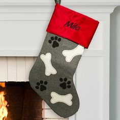 Show your four legged friend some love with this Embroidered Paw and Bone Stocking. Our Personalized Dog Stockings are embroidered with any name in black threading. Christmas Stocking Images, Pet Christmas Stockings, Pet Stockings, Christmas Stocking Pattern, Etsy Christmas, Embroidered Christmas Stockings, Embroidered Gifts, Christmas Animals, Christmas Cats