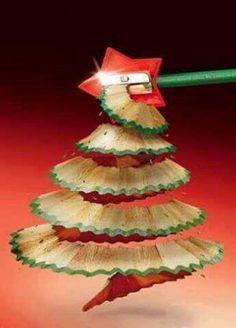 Pencil shaving art - christmas tree