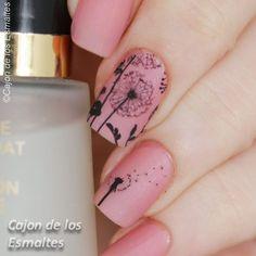 Dandelion nail art Uñas con diente de leon - Tatuajes de agua o decals Más