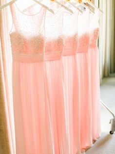 Bridesmaid Dress Idea: Light pink beaded bridesmaid dresses