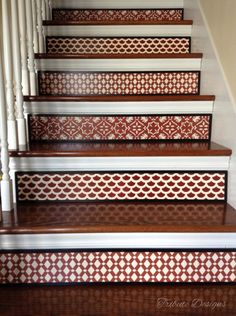 Damask Style Burgundy Red Stair Riser / Alternative to Stair Stencils, Stair Stickers and Stair Decals / Stenciled Stair / Item 076 Painted Staircases, Painted Stairs, Moroccan Decor, Moroccan Style, Dyi, Stair Risers, Stair Railing, Stair Stickers, Paint Color Palettes