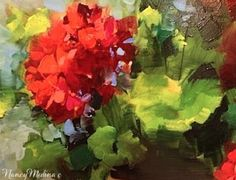 A Testy Rendezvous in France - Flower Paintings by Nancy Medina, painting by artist Nancy Medina