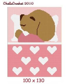INSTANT DOWNLOAD Chella Crochet Baby Puppy Sleeping Afghan Crochet Pattern Graph 100st Pink .pdf