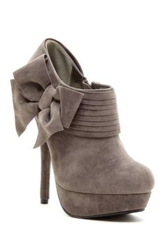 Liliana Blair Bow High Heel Bootie by aypearl High Heels Boots, Heeled Boots, Bootie Boots, Shoe Boots, Ankle Boots, Shoes Heels, Bow Shoes, Gray Heels, Gray Boots