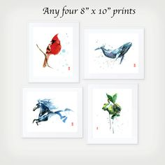 This item is a set of four 8 x 10 (20.3 cm x 25.4 cm) giclee fine art prints of original watercolor paintings by Jade Wu. The quality and texture of
