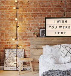 Bed Room, Bed lights and brick wall