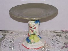 Green Cupcake Stand Dessert Pedestal Serving by LilacsNDreams, $13.00