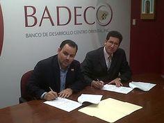 Firma de la Alianza Estratégica de ASOPYMES con BADECO: organización dedicada a ofrecer financiamiento al sector PYMES en el área Centro-Oriental del País.