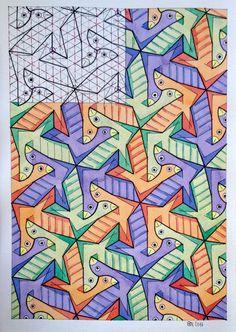 #regolo54 #tessellation #tiling #wallpaper #handmade #watercolor #aquarelle #symmetry #geometry #mathart #Escher #mcescher #seal #structure #square #triangle