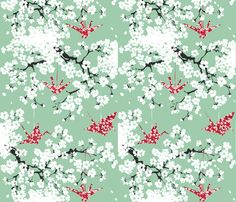 cherryblossom fabric by johanna_design on Spoonflower - custom fabric-      great color contrast !!!!!!