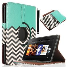 """Amazon.com: Kindle Fire HD 7 Case, ULAK Unique Wallet Magnetic Buckle 360 Degree PU Leather Case Cover for Amazon Kindle Fire HD 7"""" (2012 Previous Model) with Auto Sleep-Wake Function and Screen Protector with Stylus (Not Fit All New Kindle Fire HD 2013 Model and Kindle Fire HDX), Follow the sky: Electronics"""