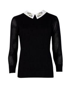 Embelished collar sweater - Black   Knitwear   Ted Baker DE