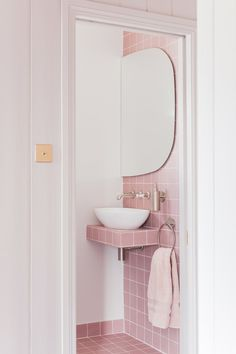 Studio – Pink bathroom look: Tile Giant Victorian Pink tiles and products from Victoria + Albert baths. Pink Bathroom Tiles, Pink Tiles, Bathroom Wall, Modern Bathroom, Small Bathroom, Bathroom Fixtures, Bathroom Ideas, Glamorous Bathroom, Minimalist Bathroom
