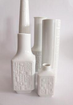 German OP Art vases MidCenturyFLA on Etsy, https://www.etsy.com/listing/165402464/german-wunsiedel-pair-op-art-white