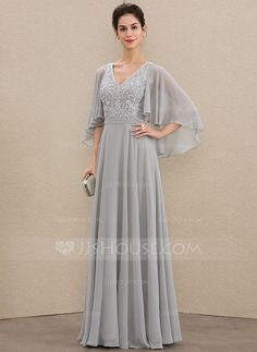 A-Line V-neck Floor-Length Chiffon Lace Mother of the Bride Dress With Beading Sequins - Mother of the Bride Dresses - JJ's House Mother Of The Bride Dresses Long, Mothers Dresses, Mother Bride Dress, Mom Dress, Lace Dress, Chiffon Dress, Dress Brokat Modern, Bride Dressing Gown, Vestidos Fashion