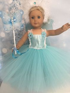 "Elsa Inspired Tutu dress And Wings American Girl Doll clothes fits all 18"" dolls"