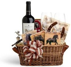 horse gift baskets | Black Stallion Horse-themed Gift Basket