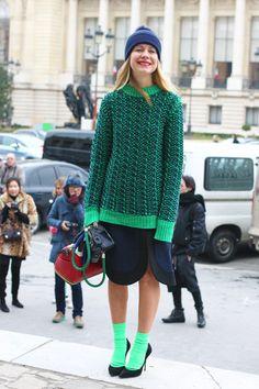 High-contrast chic in Jil Sander sweater, Marni skirt, Casadei pumps, Corto Moltedo bag and Kate Ermilio hat. #parisfashionweek #paris