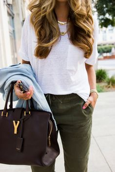 green pants and white top