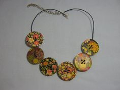 Big wooden button necklace
