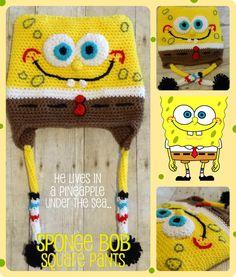 Custom Sponge Bob Square Pants Crochet Hat by craftylovecreations, $35.00