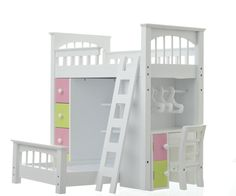 "Doll Loft Bed Set >> This bed provides two sleeping spaces - This bedroom set is customized to meet your girl's and dolls' needs. Our doll beds fit American Girl, all other 18"" dolls, and the occasional cat as well. Made of real wood and non-toxic #AmericanGirl #AG #LaurentDoll"