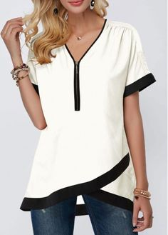 Tops For Women Contrast Piping Crossover Hem Half Zipper Blouse Trendy Tops For Women, Stylish Tops, Blouses For Women, Women's Blouses, White Blouses, Formal Blouses, Short Sleeve Blouse, Short Sleeves, Cute Tops