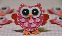 Set of 6pcs handmade felt owl--lipstick (FT925)