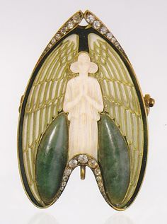 Angel brooch, by René Lalique, France, circa 1902. Gold, enamel, ivory, jade and diamonds. Signed LALIQUE. Antique jewelry x