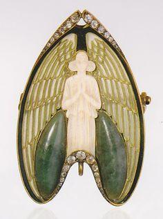 Angel brooch, by René Lalique, France, circa 1902. Gold, enamel, ivory, jade and diamonds. Signed LALIQUE. Unique piece.
