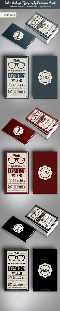 Retro Vintage Typography Business Card - Retro/Vintage Business Cards