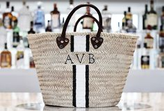 Who else is obsessed with the monogram straw french tote? Click here to see how to DIY your own tote bag for a third of the price!