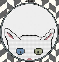 Kitty Committee White kitten cross stitch chart for four inch hoop by pdxstitchshop #cat #kitten #crossstitch