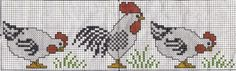 ARTESANATOS TRANSITÓRIA Cross Stitch Designs, Cross Stitch Patterns, Cross Stitch Embroidery, Embroidery Patterns, Chicken Cross Stitch, Chickens And Roosters, Charts And Graphs, Coq, Needlepoint