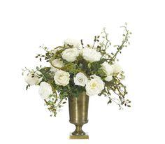 Rose (WF246): Rose Vine, White Green, Brass Urn, 23wx21dx25h