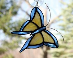 Stained Glass Butterfly Suncatcher Blue and Yellow by BerlinGlass