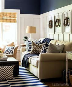 Navy, White, and Tan Living Room