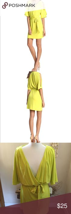 Jessica Simpson Yellow/Citron Dress Going out dress with a deep V neckline and split sleeve belted dress. Jessica Simpson Dresses Mini