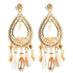 Tassel Ellipse Drop Earrings by LK Designs