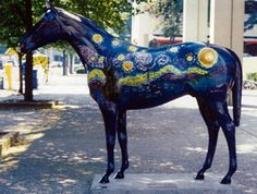 Gallopalooza horses each painted differently and placed all around Louisville