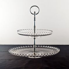 Imperial Candlewick Two Tier Serving Tray in Crystal, Round Handle