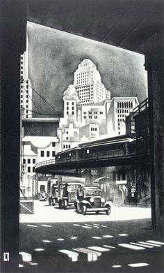 Louis Lozowick - Hanover Square (1929)