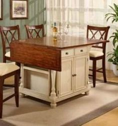 New kitchen island with seating portable Ideas Antique Kitchen Island, Modern Kitchen Island, Kitchen Island With Seating, New Kitchen, Kitchen Islands, Kitchen Carts, Kitchen Table With Storage, Portable Kitchen Island, Small Kitchen Tables