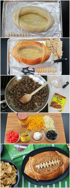 Taco Dip in a Football Bread Bowl