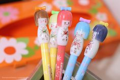 kokeshi pencil toppers
